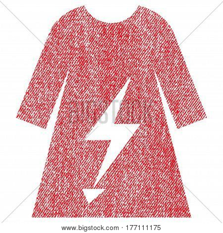 Electric Power Lady Dress vector textured icon for overlay watermark stamps. Fabric red vectorized texture. Symbol with dust design. Rubber seal stamp with fiber textile structure.