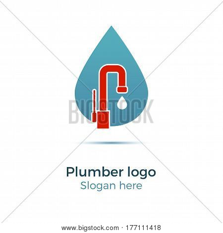 Plumbing company logo vector concept. Illustration for plumber's business. Simple and stylish logotype - water drop with faucet.
