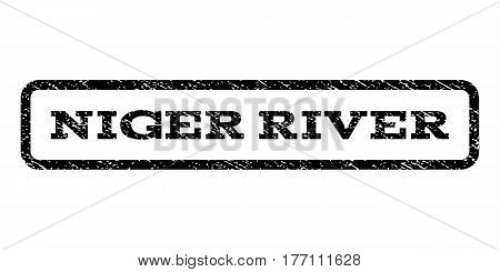Niger River watermark stamp. Text caption inside rounded rectangle frame with grunge design style. Rubber seal stamp with unclean texture. Vector black ink imprint on a white background.