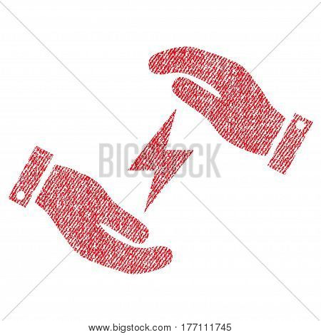Electricity Care Hands vector textured icon for overlay watermark stamps. Fabric red vectorized texture. Symbol with scratched design. Rubber seal stamp with fiber textile structure.
