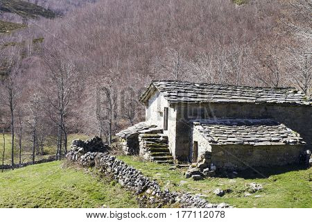 Stone Cabin In Autumn Forest.