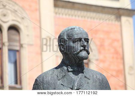 Monument of poet Jovan Jovanovic Zmaj in Old town in Novi Sad - Serbia
