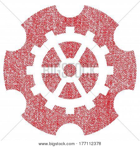 Gearwheel vector textured icon for overlay watermark stamps. Fabric red vectorized texture. Symbol with scratched design. Rubber seal stamp with fiber textile structure.