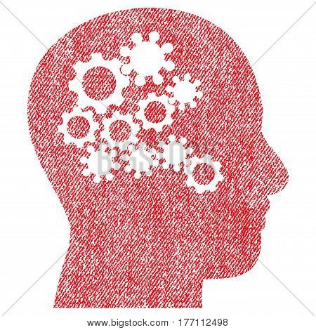 Human Mind Gears vector textured icon for overlay watermark stamps. Fabric red vectorized texture. Symbol with unclean design. Rubber seal stamp with fiber textile structure.