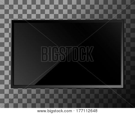 TV screen on transparent background. Lcd or led display, computer monitor. Vector illustration.