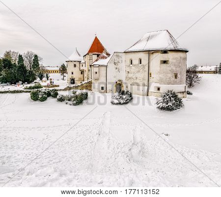 Varazdin Castle and Old Town in winter time, one of the most important tourist centers of northern Croatia.