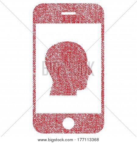 Smartphone Contact Human Portrait vector textured icon for overlay watermark stamps. Fabric red vectorized texture. Symbol with scratched design. Rubber seal stamp with fiber textile structure.