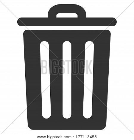 Dustbin vector icon. Flat gray symbol. Pictogram is isolated on a white background. Designed for web and software interfaces.