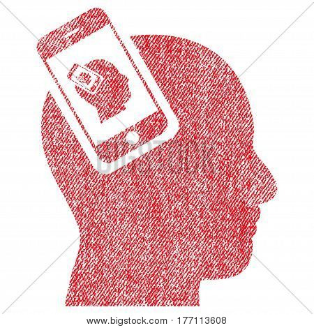Smartphone Head Plugin Recursion vector textured icon for overlay watermark stamps. Fabric red vectorized texture. Symbol with scratched design. Rubber seal stamp with fiber textile structure.