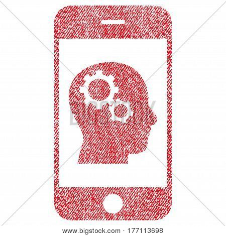 Smartphone Intellect Gears vector textured icon for overlay watermark stamps. Fabric red vectorized texture. Symbol with dirty design. Rubber seal stamp with fiber textile structure.