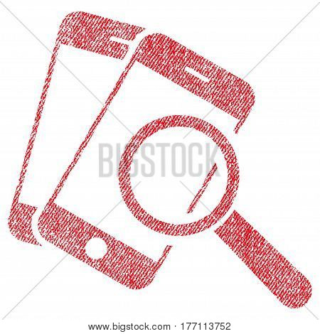 Smartphone Magnifier Search Tool vector textured icon for overlay watermark stamps. Fabric red vectorized texture. Symbol with dirty design. Rubber seal stamp with fiber textile structure.