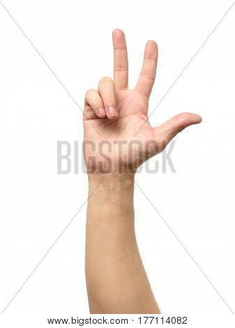 Counting Hand Sign Isolated On White