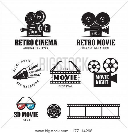 Retro cinema labels badges emblems and design elements set. 3d movie sign. Vector vintage illustration.