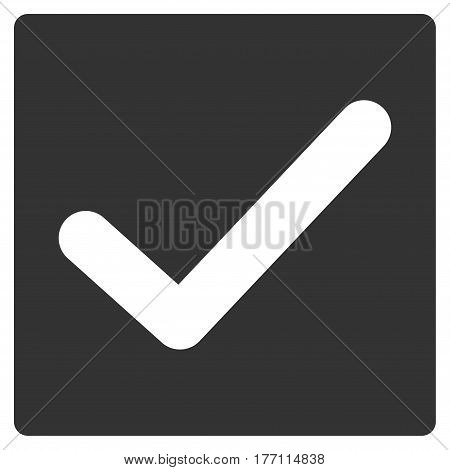 Valid Tick vector icon. Flat gray symbol. Pictogram is isolated on a white background. Designed for web and software interfaces.