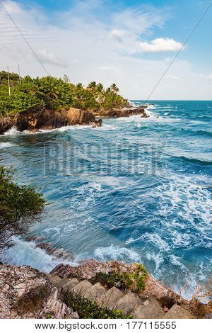 Toco Trinidad and Tobago West Indies rough sea beach cliff edge view
