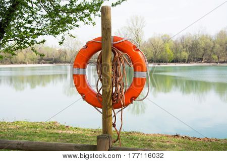 Lifeguard equipment life preserver orange life buoy