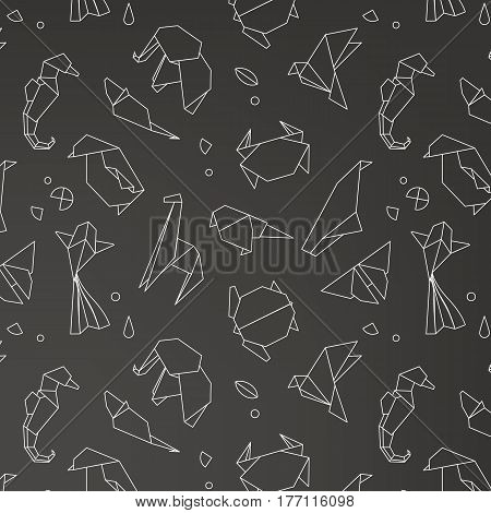 Animals origami pattern snake elephant bird seahorse frog fox mouse butterfly pelican wolf bear rabbit crab shark horse fish parrot monkey pig turtle penguin giraffe cat panda kangaroo drawing with white lines on black background