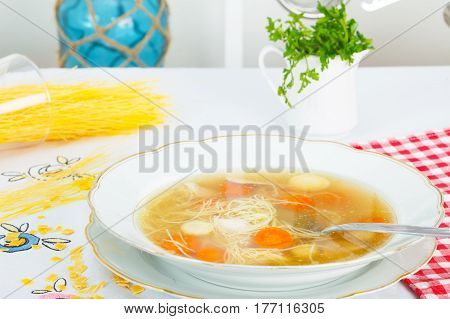Traditional chicken soup with noodles and carrot