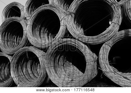 black and white construction wire on stock