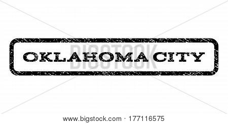 Oklahoma City watermark stamp. Text tag inside rounded rectangle frame with grunge design style. Rubber seal stamp with dust texture. Vector black ink imprint on a white background.
