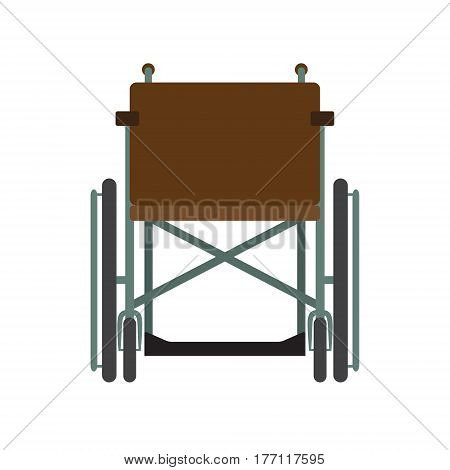 Invalid wheelchair front view isolated on a white background. Disability people transport. Flat vector illustration.