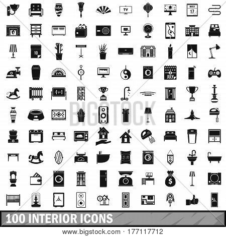 100 interior icons set in simple style for any design vector illustration