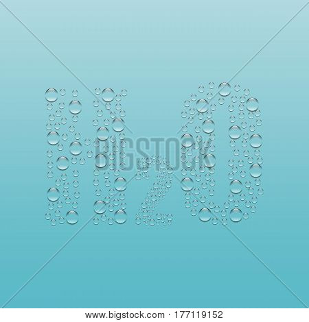 water drops H2O shaped - vector The formula of water consisting of droplets on a blue background