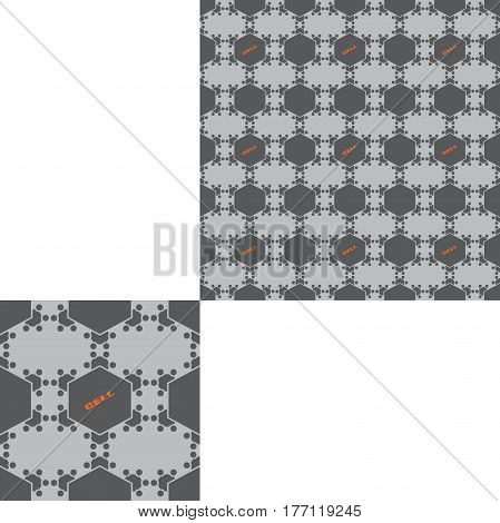 Seamless geometric gray hexagon pattern with text and pattern unit.