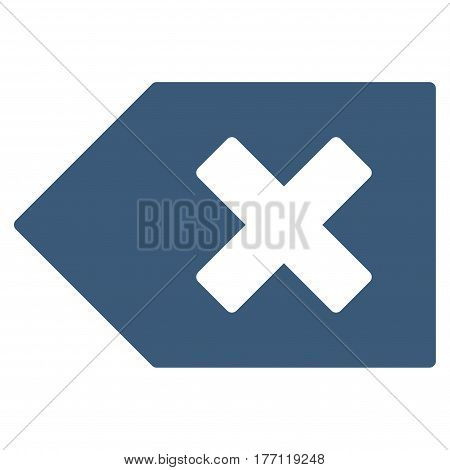Backspace vector icon. Flat blue symbol. Pictogram is isolated on a white background. Designed for web and software interfaces.