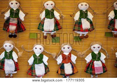 Famous handicraft mart Kaziukas in Vilnius, Lithuania: homemade rag dolls
