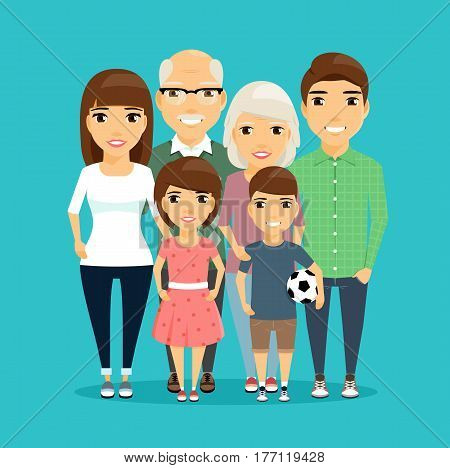 Family. All family members stand next to each other. Children, dad and mom and grandparents. The boy is holding the ball.Happy family.