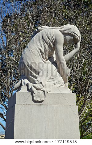 ATLANTA, GA - Mar 15, 2017 At the Oakland Cemetery sits a statue of Greek mythology character, Niobe, who personifies grief.