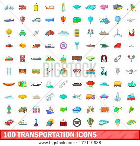 100 transportation icons set in cartoon style for any design vector illustration
