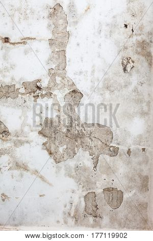Chipped old white concrete wall texture background