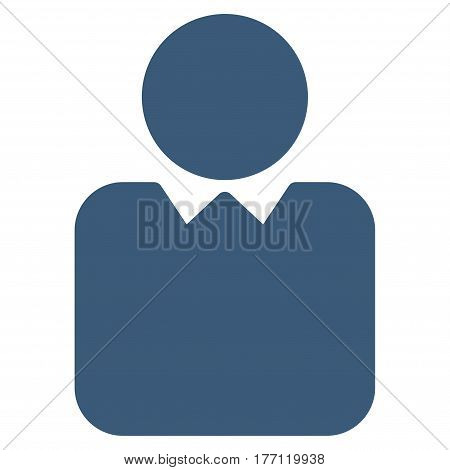 Person vector icon. Flat blue symbol. Pictogram is isolated on a white background. Designed for web and software interfaces.