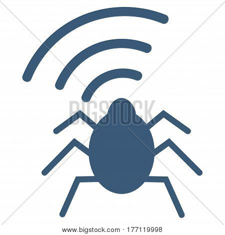 Radio Bug vector icon. Flat blue symbol. Pictogram is isolated on a white background. Designed for web and software interfaces.