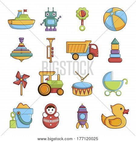 Kids toys icons set. Cartoon illustration of 16 kids toys vector icons for web