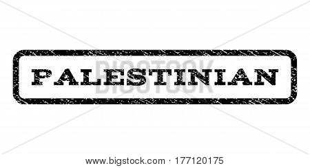 Palestinian watermark stamp. Text caption inside rounded rectangle frame with grunge design style. Rubber seal stamp with dirty texture. Vector black ink imprint on a white background.