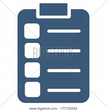 Tasks vector icon. Flat blue symbol. Pictogram is isolated on a white background. Designed for web and software interfaces.