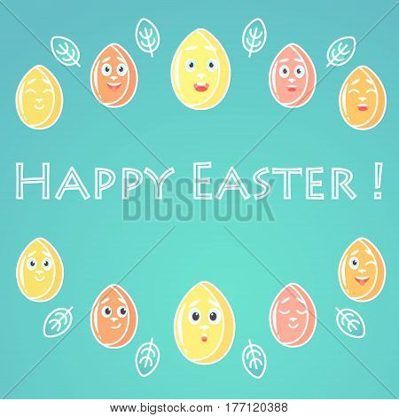 A greeting card for Easter with emotional bright colored Easter eggs white lines for decoration with a font in the middle of the card. The restrained font.