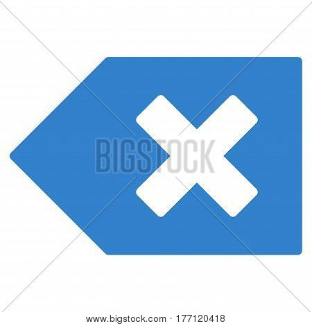 Backspace vector icon. Flat cobalt symbol. Pictogram is isolated on a white background. Designed for web and software interfaces.