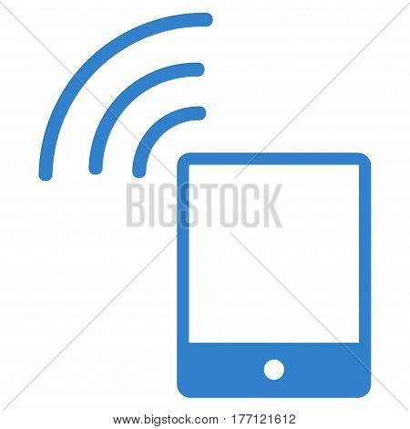 Smartphone Wi-Fi Signal vector icon. Flat cobalt symbol. Pictogram is isolated on a white background. Designed for web and software interfaces.