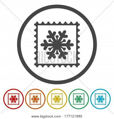 Collection of snowflake vector postage stamps, vector
