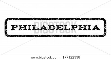 Philadelphia watermark stamp. Text tag inside rounded rectangle with grunge design style. Rubber seal stamp with dust texture. Vector black ink imprint on a white background.