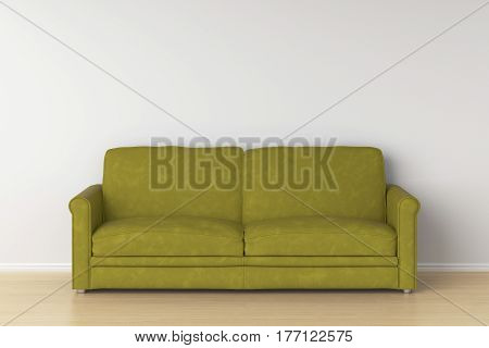 Yellow suede leather sofa in interior. 3d render