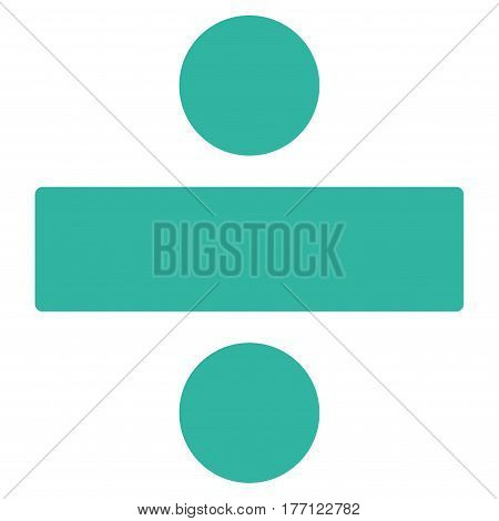 Divide Math Operation vector icon. Flat cyan symbol. Pictogram is isolated on a white background. Designed for web and software interfaces.
