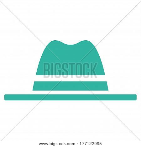 Hat vector icon. Flat cyan symbol. Pictogram is isolated on a white background. Designed for web and software interfaces.