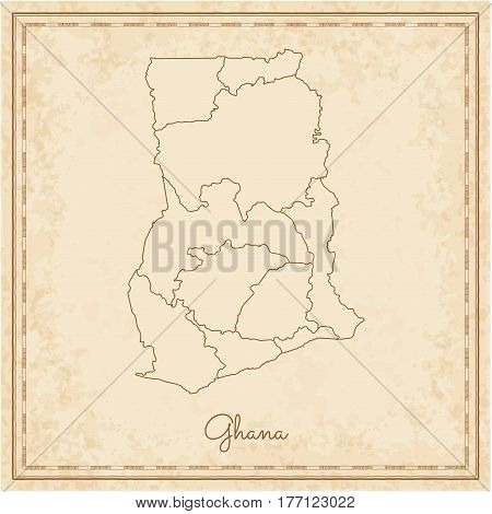 Ghana Region Map: Stilyzed Old Pirate Parchment Imitation. Detailed Map Of Ghana Regions. Vector Ill