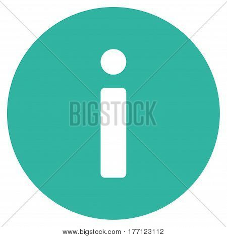 Info vector icon. Flat cyan symbol. Pictogram is isolated on a white background. Designed for web and software interfaces.