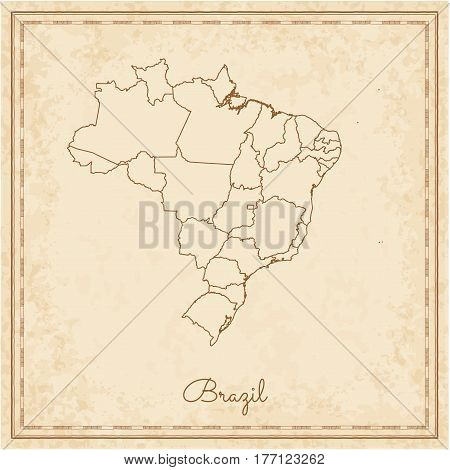 Brazil Region Map: Stilyzed Old Pirate Parchment Imitation. Detailed Map Of Brazil Regions. Vector I